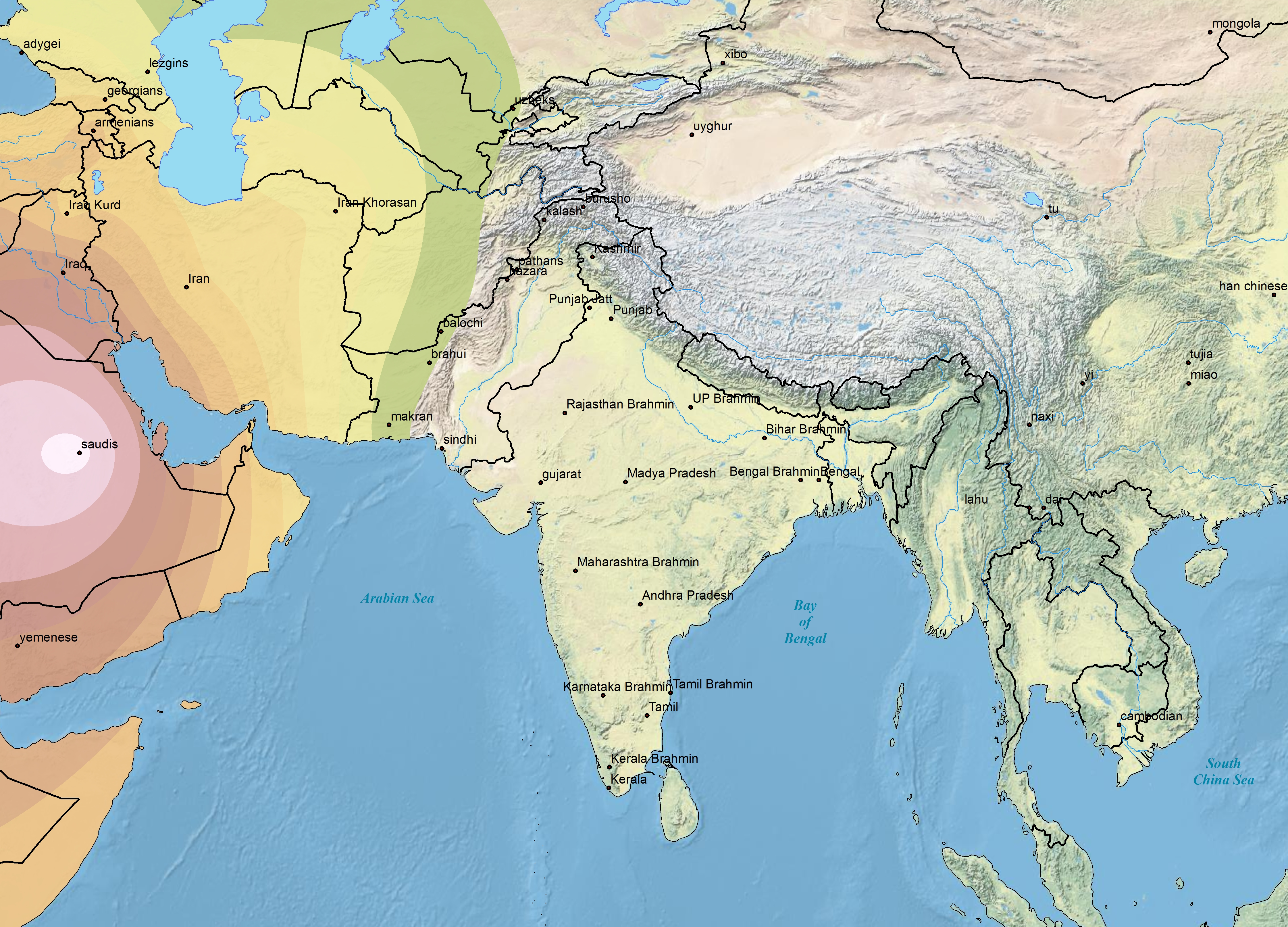 Southwest Asia Mountains Map map harappa ancestry project